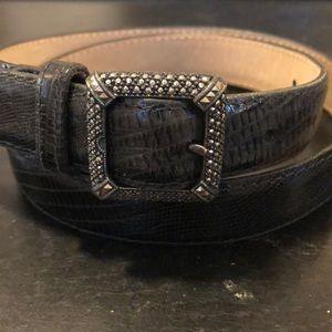 Judith Jack Black Leather Belt